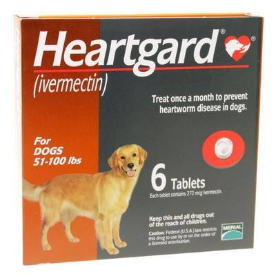 Unflavored Heartgard For Dogs 51 To 100lbs 6 Tablets