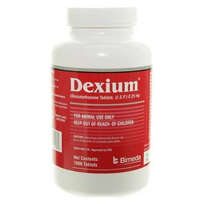 Dexium (dexamethasone) Tablets are an anti-inflammatory drug for dogs and cats.
