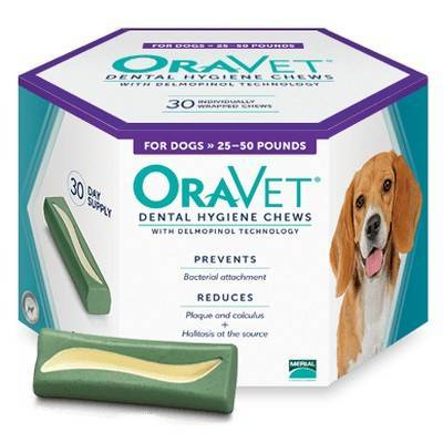 OraVet Dental Hygiene Chews for Dogs 25 to 50lbs 30ct